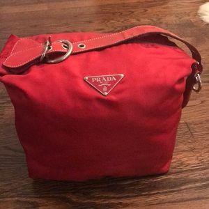 Red nylon Prada bag